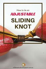Adjustable sliding knots are a great alternative to struggling with a clasp on a bracelet. Just pull the two bracelet ends to tighten until comfortable. Learn how to make one with this tutorial. #MillLaneStudio #slidingknot #leatherbracelet #diyleatherjewelry #slidingknottutorial #adjustablebracelet