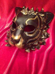 """Купить Венецианская карнавальная маска """" Black Lion"""" - черный, венецианская маска, венецианский карнавал"""