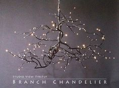 branch chandelier light fixture | butt created a totally unique chandelier using branches from a ...
