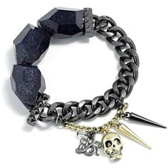 Rock & Republic Two Tone Bead & Skull Stretch Bracelet ($24) ❤ liked on Polyvore