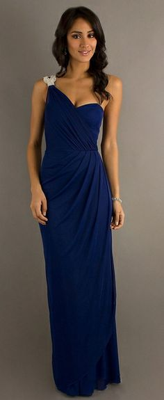 Long One Shoulder Semi Formal Chiffon Dress Royal Blue Rhinestone $111.99