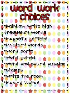 Daily 5: Word work ideas