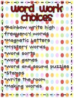Daily 5: Word work ideas