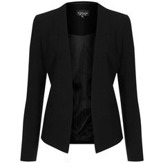 Topshop Open Front Blazer (120 CAD) ❤ liked on Polyvore featuring outerwear, jackets, blazers, tops, coats, topshop jacket, blazer jacket, tailored blazer, pocket jacket and cream jacket