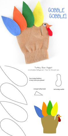 Turkey Glove Puppet Free Pattern  | Click for 30 DIY Thanksgiving Crafts for Kids to Make | Easy Thanksgiving Crafts for Toddlers to Make