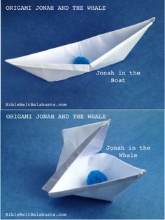 Origami storytelling props: one model (open vs closed) = Jonah's boat and the Whale. wp.me/pvKSY-2jZ
