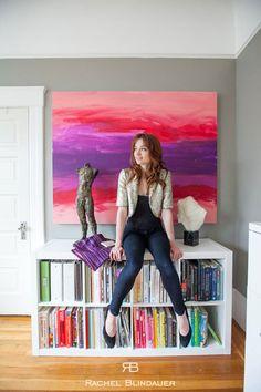 Magenta and Purple Art with Jostes Sculpture - San Francisco Interior Designer Rachel Blindauer www.rachelblindauer.com