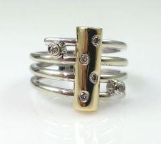 Orbit Diamond Ring 14k Gold * 14K Two Tone Gold with Genuine Diamonds