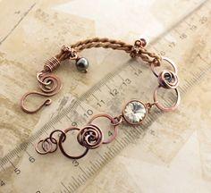 Artsy copper bracelet with Swarovski crystal by IngoDesign on Etsy, $45.00