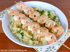 Shrimp Skewers with Garlicky Parmesan Orzo - For the Love of Cooking
