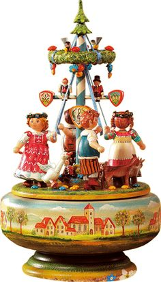 """""""Happy Maypole Dance"""" Music Box Edition - Exquisitely crafted and handpainted music box. Contains a Swiss REUGE musical movement. Beltane, German Christmas, Vintage Christmas, Dance Music, Antique Toys, Vintage Toys, Antique Music Box, Pretty Box, Tin Toys"""