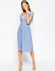 Image 1 ofASOS Drape Cold Shoulder Midi Dress