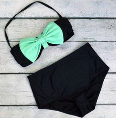 Grenada Beach Big Mint Bow High-Waist Bikini from Amazing Lace. Saved to Things I want as gifts. Cute Swimsuits, Cute Bikinis, Summer Suits, Summer Wear, Bikini Sets, Bikini Beach, Bikini Swimwear, Cute Bathing Suits, Bathing Suits