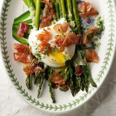 BREAKFAST: Roasted Asparagus with Crispy Prosciutto and Poached Egg. Recipes from: Foodily