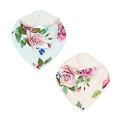 Baker by Ted Baker - Pack of two baby girls' pink rose bibs