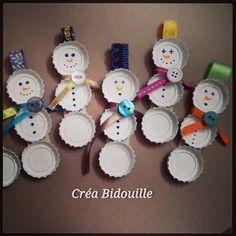 Bonhommes de neige, capsules de bière, récup, déco de noël