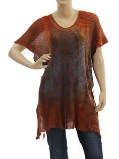 Lagenlook knit linen sweater tunic top - rust purple blue - Artikeldetailansicht - CLASSYDRESS Lagenlook Art to Wear Women's Clothing