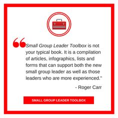 Thx to SG leader & coach Roger Carr @smallgroup7 for #SGLTOOLBOX review. Discounted thru 12/31! https://smallgroupleadership.com/product/small-group-leader-toolbox/