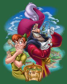 Peter Pan vs Hook by Pedro Astudillo Disney Villains, Disney Movies, Disney Pixar, Walt Disney, Disney Songs, Disney Quotes, Peter Pan And Tinkerbell, Peter Pan Disney, Disney Artwork
