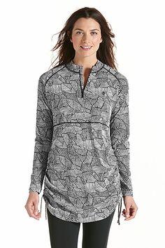 Ruche Swim Shirt - Black Medallion: Sun Protective Clothing - Coolibar