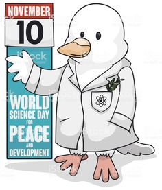 Scientific Dove Celebrating World Science Day for Peace and Development World Science Day, White Lab Coat, Free Vector Art, November, Peace, Teaching, Comics, Celebrities, Illustration