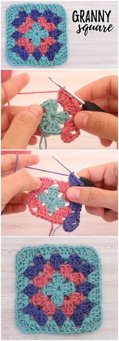 Crochet Granny Square Patterns How To Crochet Beautiful Granny Square - How To Crochet Beautiful Granny Square Granny Square Crochet Pattern, Crochet Squares, Crochet Motif, Crochet Stitches, Free Crochet, Knit Crochet, Easy Granny Square, Crochet Blocks, Crochet Flower