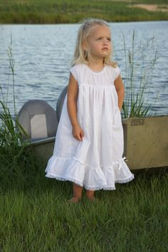 White Beach Dress with Lace Detail by PlaygroundPixie on Etsy