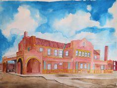 """Prescott,AZ train depot"" 2015. (18 x 24) Watercolor by Colin Claxon"