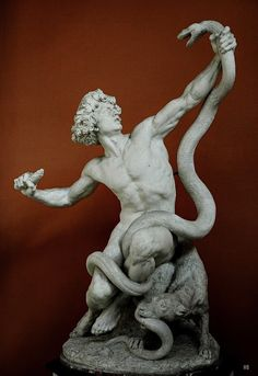 Man fighting a snake, Gabriel Jules Thomas Ancient Greek Sculpture, Greek Statues, Ancient Art, Roman Sculpture, Art Sculpture, Stone Age Man, Traditional Sculptures, Rome Antique, Statue Tattoo