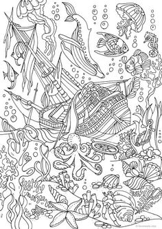 Sunken ship at the bottom of the ocean coloring page