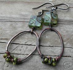 Green Dot Earrings Beaded Copper Hoops Boho Hoop Jewelry. via Etsy.