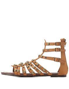 Studded Caged Gladiator Sandals: Charlotte Russe