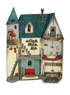 Artist Lea Vervoot - dollhouse-inspired art - Poppenhuisje - www.nl (a gorgeous poster) Art And Illustration, Building Illustration, Pattern Illustration, Illustrations Posters, Drawn Art, Ecole Art, House Drawing, Portfolio, Folk