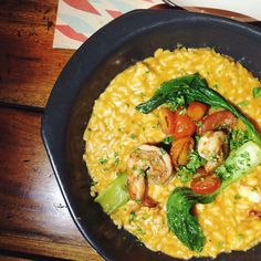 I's was almost new year 2016. Before the tropical night countdown at @ochaandbella, we're having RISOTTO GAMBERI. Risotto in prawn bisque with cherry tomato confit and chard. Perfectly delicious!