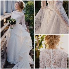 PO16-0 2015 Latest Design Modest Wedding Dresses With Long Sleeves Lace Appliques Princess A Line Covered Button Plus Size Bridal Gown Cheap, $341.22 | DHgate.com: