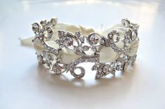 Bridal laced ribbon elegant Swarovski crystal jewel bracelet. Rhinestone leaf wedding bracelet.   NOSTALGIC VINTAGE on Etsy, $80.00