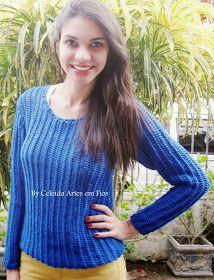 Clique na foto para ampliar.                Blusa confeccionada para minha filha Letíci   Fio Fofura , agulha 07.   Ponto : 1 ponto de bo...