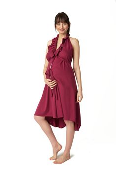 Pretty Pushers adds a little feminine detail to the classic labor gown with a ruffle at the neckline and bottom hem. Cute Dresses, Vintage Dresses, Prom Dresses, Summer Dresses, Formal Dresses, Delivery Gown, Skin To Skin, Nursing Clothes, All About Fashion