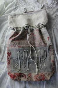 pretty fabric bag using old French fabrics