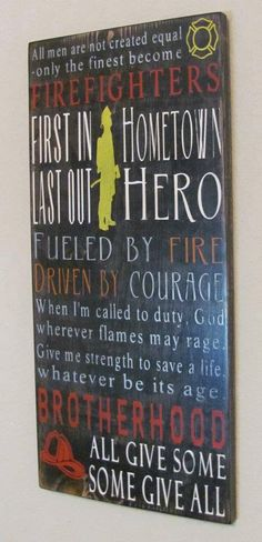 Wood Firefighter Subway Sign by DeenasDesign on Etsy, $58.00
