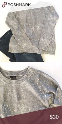 Sparkle & Fade Metallic Silver Sweater From Urban Outfitters. Loose, boxy fit. Gray color with silver foil detail. Urban Outfitters Sweaters Crew & Scoop Necks