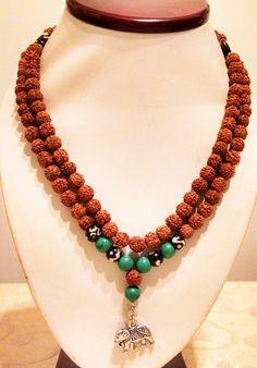 Rudrakshya mala beads 108 Turquoise OM by KhasyorInternational