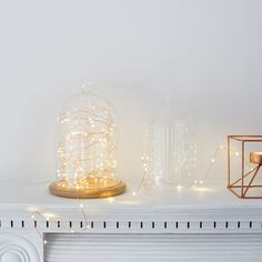 Battery Operated Fairy Lights with 50 Micro Warm White LEDs on Copper Wire by Glass Bell Jar, The Bell Jar, Glass Domes, Bell Jars, Led, Party Table Centerpieces, Traditional Table Lamps, Housewarming Present, Deco Table