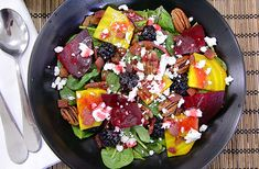 Spinach Berry Beet Salad With Raspberry Vinaigrette