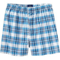 Mens Patterned Boxers Size M - Blue/white plaid (£6.85) ❤ liked on Polyvore featuring men's fashion, men's clothing, men's underwear, boxers, boys, mens white boxers, mens boxers and mens leopard print boxers