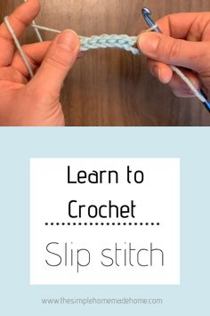 Are you just learning to crochet? This step by step tutorial for how to crochet . Are you just learning to crochet? This step by step tutorial for how to crochet a slip stitch is pa Slip Stitch Crochet, Easy Crochet Stitches, Crochet Stitches For Beginners, Beginner Crochet Tutorial, Beginner Crochet Projects, Crochet Instructions, Crochet Videos, Crochet Basics, Knitting For Beginners