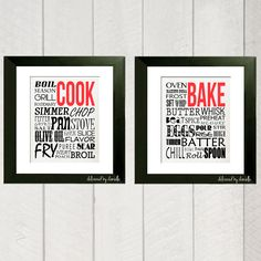 Kitchen Art Print - Cook and Bake Typography - 8x10. $25.00, via Etsy.