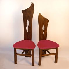 Knights of the round table These are 2 from a set. Walnut with velvet upholstery. Round Table, Timber, Chair, Furniture, Dining Chairs, Bespoke Furniture, Home Decor, Upholstery