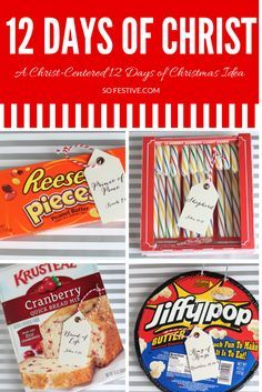 12 Days of CHRIST- A Christ-Centered 12 Days of Christmas Tradition. Click through for the printable tags and gift list. I may change a few if these, like give a candle for Prince of Peace, etc. May give as 1 gift with several of these. Christmas Service, Neighbor Christmas Gifts, Twelve Days Of Christmas, Christmas Treats, Christmas Holidays, Neighbor Gifts, Merry Christmas, Christmas Program, Christmas Quotes