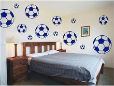 Soccer Balls Vinyl Wall Decals Pack - Sports Kids Room Stickers